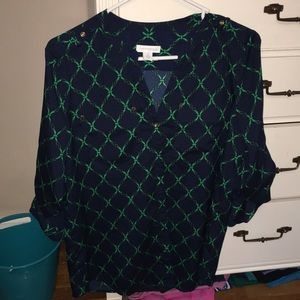 Silky navy and green blouse